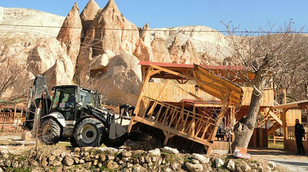 Kapadokya'da Kaçak Yapılar Yıkıldı