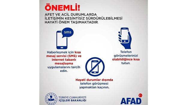 AFAD: İletişim için SMS ve web tabanlı uygulamaları kullanın