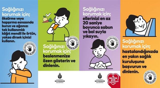 İstanbul Büyükşehir Belediyesi, koronavirüs için farklı dillerde afiş ve anons hazırladı