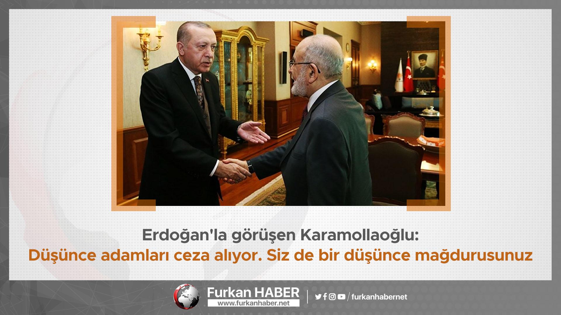 Erdoğan'la görüşen Karamollaoğlu: Düşünce adamları ceza alıyor. Siz de bir düşünce mağdurusunuz