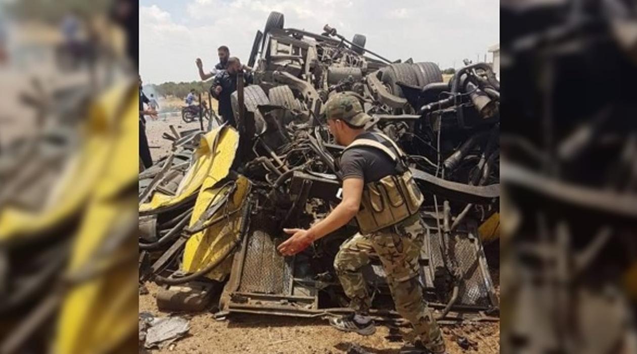 Esad askerlerini taşıyan otobüsün geçişi sırasında patlama: 3 ölü, 16 yaralı