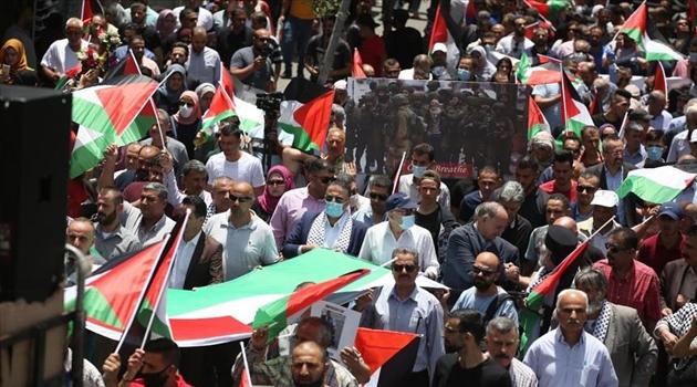 İşgalci İsrail'in 'ilhak' planı Gazze'de binlerce kişinin katıldığı yürüyüşle protesto edildi