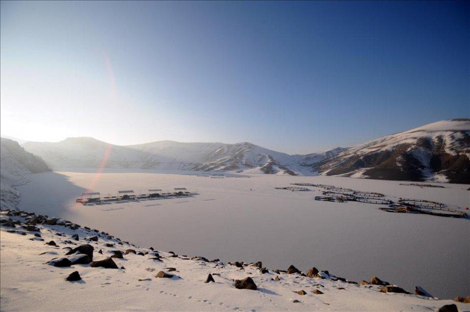 Van'da baraj gölü dondu