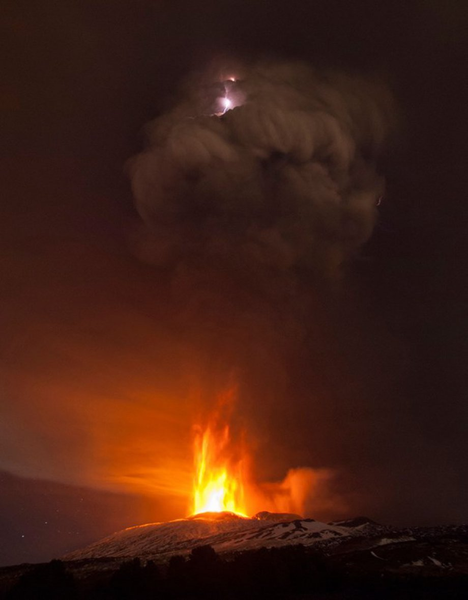 Sessizliğini bozan Etna'dan eşsiz görüntüler