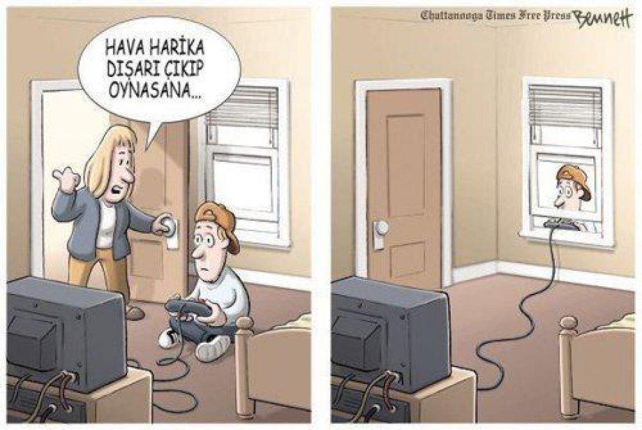 Karikatürlerle Teknolojinin Zararları