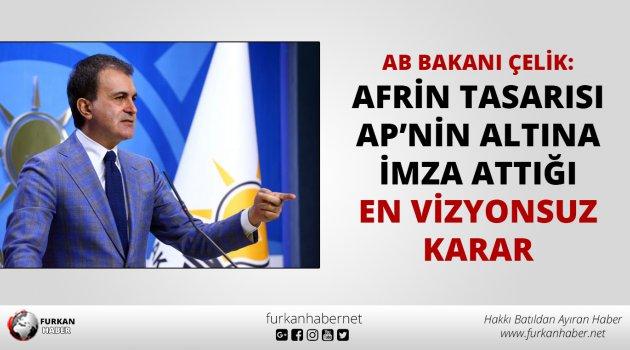 AB Bakanı Çelik: Afrin tasarısı AP'nin altına imza attığı en vizyonsuz karar