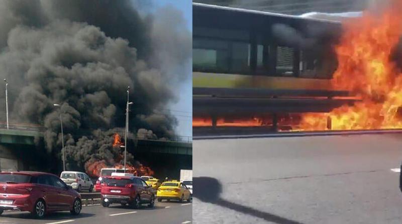 Bakırköy'de metrobüs alev topuna döndü
