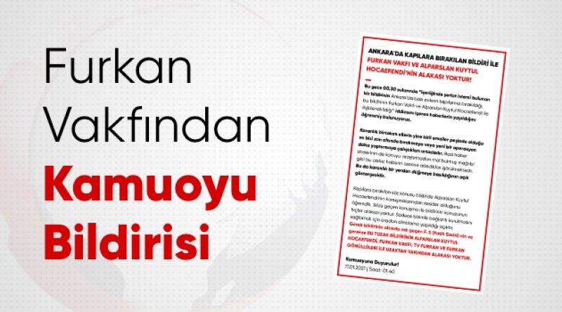 Ankara'da şeriat çağrısı yapan bildiri hakkında Furkan Vakfı'ndan açıklama!