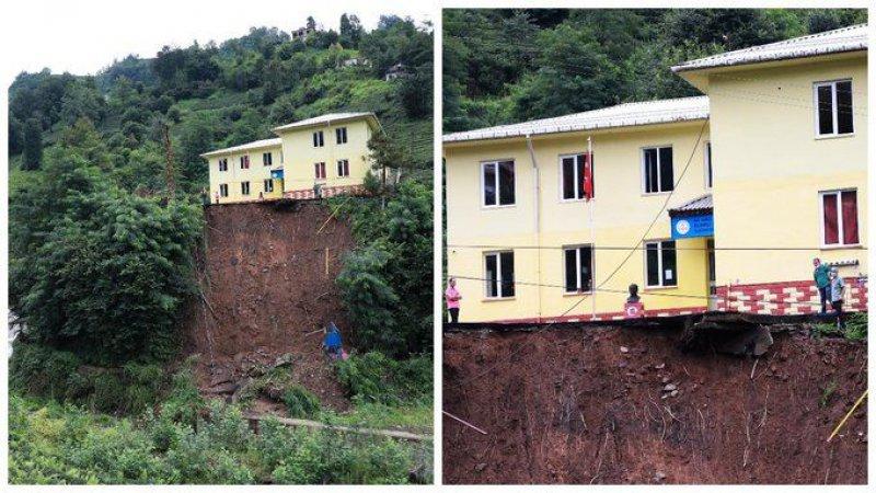İki gündür süren yağış heyelana neden oldu; bir okulun bahçesi çöktü