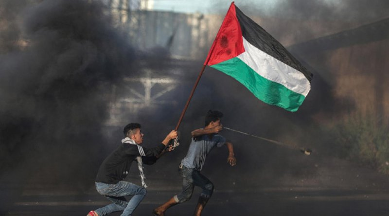 Siyonist işgalcilerden Ramallah'taki barışçıl gösterilere sert müdahale