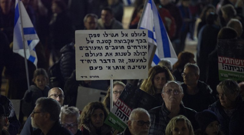 Kudüs'te siyonist Netanyahu karşıtları yeniden sokaklara döküldü